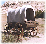 A Prairie Schooner, or Covered Wagon, in the great Southwest.